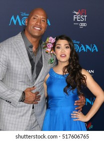 "LOS ANGELES - NOV 14:  Dwayne Johnson, Auli'i Cravalho at the ""Moana""  at TCL Chinese Theater IMAX on November 14, 2016 in Los Angeles, CA"