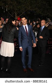 """LOS ANGELES - NOV 14:  Taylor Lautner arrives at the """"Twilight: Breaking Dawn Part 1"""" World Premiere at Nokia Theater at LA LIve on November 14, 2011 in Los Angeles, CA"""