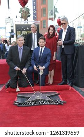 LOS ANGELES - NOV 16:  Leron Gubler, Tom Corson, Michael Buble, Priscilla Presley, David Foster at the Michael Buble Star Ceremony on the Hollywood Walk of Fame on November 16, 2018 in Los Angeles, CA