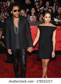 "LOS ANGELES - NOV 18:  Lenny Kravitz & Zoe Kravitz  arrives to the ""The Hunger Games: Catching Fire"" Los Angeles Premiere  on November 18, 2013 in Los Angeles, CA"