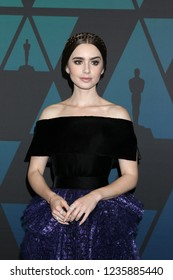 LOS ANGELES - NOV 18:  Lily Collins at the 10th Annual Governors Awards at the Ray Dolby Ballroom on November 18, 2018 in Los Angeles, CA