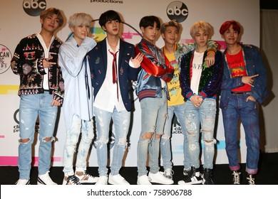 LOS ANGELES - NOV 19:  BTS, Jungkook, Jimin, V, Suga, Jin, J-Hope, Rap Monster at the American Music Awards 2017 at Microsoft Theater on November 19, 2017 in Los Angeles, CA