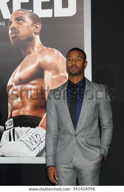 """LOS ANGELES - NOV 19:  Michael B. Jordan at the """"Creed"""" Los Angeles Premiere at the Village Theater on November 19, 2015 in Westwood, CA"""