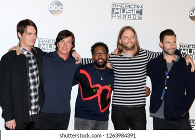 LOS ANGELES - NOV 20:  Mickey Madden, Matt Flynn, PJ Morton, James Valentin, Adam Levine, Maroon 5 at the 2016 American Music Awards at Microsoft Theater on November 20, 2016 in Los Angeles, CA