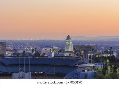 Los Angeles, NOV 20: Twilight aerial view of Los Angeles City Hall on NOV 20, 2014 at Los Angeles, California