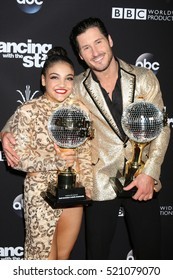 "LOS ANGELES - NOV 22:  Laurie Hernandez, Valentin Chmerkovskiy at the ""Dancing With The Stars"" Live Finale at The Grove on November 22, 2016 in Los Angeles, CA"