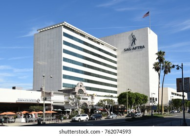 LOS ANGELES - NOV 24, 2017: SAG-AFTRA building. The union represents about 160,000 film / television actors, journalists, radio personalities, recording artists, singers and other media professionals