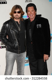 LOS ANGELES - NOV 24:  Billy Ray Cyrus and Wayne Newton arrives at the 2013 American Music Awards Arrivals  on November 24, 2013 in Los Angeles, CA