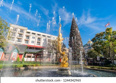 Los Angeles, NOV 26: Afternoon of the fountain and the public art Spirit of American Youth with christmas tree in The Americana at Brand on NOV 26, 2018 at Los Angeles, California