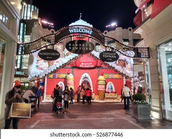 LOS ANGELES, NOV 26TH, 2016: The gingerbread Santa House at the Grove shopping center near the historic Farmers' Market at Fairfax and 3rd street, where kids get to meet Santa Claus.