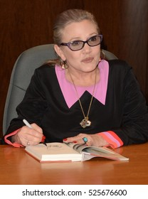 """LOS ANGELES - NOV 28:  Carrie Fisher at the Book Signing for """"The Princess Diarist"""" at Barnes & Noble on November 28, 2016 in Los Angeles, CA"""