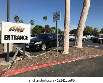 LOS ANGELES, NOV 3rd, 2018: The DMV Entrance sign at the parking lot of the DMV field office in Culver City, California.