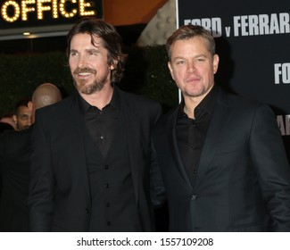 "LOS ANGELES - NOV 4:  Christian Bale, Matt Damon at the ""Ford v Ferrari"" Premiere at TCL Chinese Theater IMAX on November 4, 2019 in Los Angeles, CA"