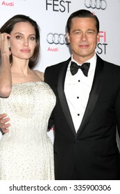 """LOS ANGELES - NOV 5: Angelina Jolie Pitt, Brad Pitt at the AFI FEST 2015 Presented By Audi Opening Night Gala Premiere of """"By The Sea"""" at the TCL Chinese Theater on November 5, 2015 in Los Angeles, CA"""