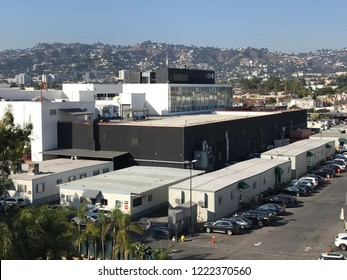 LOS ANGELES, NOV 5TH, 2018: Daytime aerial view of the historic CBS Television City studios lot, looking north, with the Hollywood Hills in the background. It was recently designated as an LA landmark