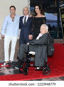 LOS ANGELES - NOV 6:  Cameron Douglas, Michael Douglas, Catherine Zeta-Jones, Kirk Douglas at the Michael Douglas Star Ceremony on the Hollywood Walk of Fame on November 6, 2018 in Los Angeles, CA