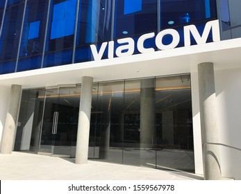 LOS ANGELES, Nov 7, 2019: Viacom Los Angeles headquarters on Gower Street, main entrance exterior, building and logo sign. Viacom and CBS will complete their merger in December 2019.