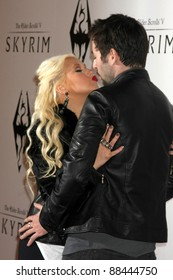 LOS ANGELES - NOV 8:  Christina Aguilera, Matthew Rutler arrives at the SKYRIM Launch Event at Belasco Theater on November 8, 2011 in Los Angeles, CA