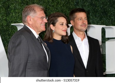 """LOS ANGELES - NOV 9:  Robert Zemeckis, Marion Cotillard, Brad Pitt at the """"Allied"""" Fan Screening at the Village Theater on November 9, 2016 in Westwood, CA"""
