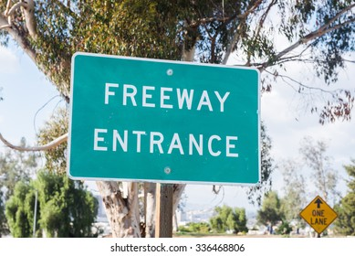 LOS ANGELES - NOVEMBER 1: Freeway entrance in Downtown Los Angeles. November 1, 2015 in Los Angeles, CA