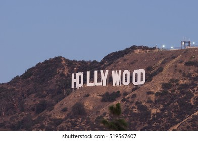 LOS ANGELES - NOVEMBER 14, 2016: The 'Hollywood Sign' is a landmark and American cultural icon. It is situated on Mount Lee, in the Hollywood Hills area of the Santa Monica Mountains.