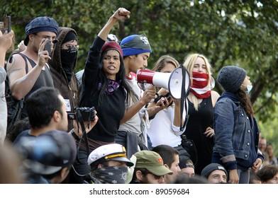 LOS ANGELES - NOVEMBER 17: Occupy LA  protesters march on November 17, 2011 in Los Angeles, CA.