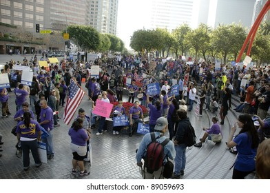 LOS ANGELES - NOVEMBER 17: Occupy LA  protesters march on November 17, 2011 in Los Angeles, CA.