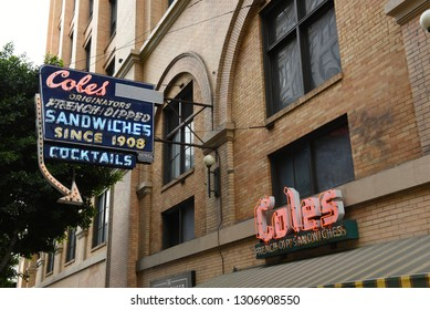 LOS ANGELES - NOVEMBER 19, 2018: Coles a landmark saloon known for French dip sandwiches and classic cocktails, plus hidden speakeasy in back.