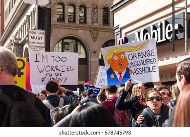 LOS ANGELES - NOVEMBER 21. Protesters fill the street with signs as part of the Women's March on November 21, 2017 in downtown Los Angeles.