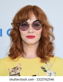 LOS ANGELES - OCT 06:  Christina Hendricks arrives for The Rape Foundation Annual Brunch on October 06, 2019 in Los Angeles, CA