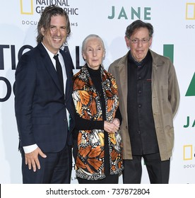 LOS ANGELES - OCT 09:  Brett Morgen, Jane Goodall and Philip Glass arrives for the 'Jane' Los Angeles Premiere on October  9, 2017 in Hollywood, CA