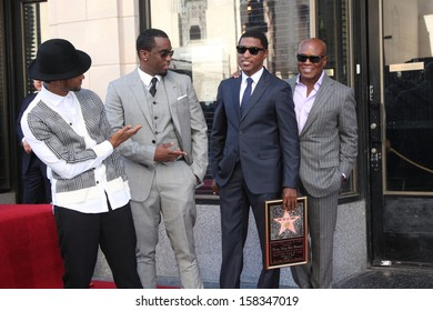 """LOS ANGELES - OCT 10:  Usher, Sean Combs, Kenny Edmonds, Antonio """"LA"""" Reid at the Kenny """"Babyface"""" Edmonds Hollywood Walk of Fame Ceremony at Hollywood Boulevard on October 10, 2013 in Los Angeles, CA"""