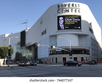 LOS ANGELES, OCT 11TH, 2017: Wide shot of the Beverly Center building exterior in Los Angeles, California as seen from the Beverly Boulevard and San Vicente Boulevard intersection.