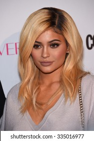 LOS ANGELES - OCT 13:  Kylie Jenner arrives to the Cosmopolitan's 50th Birthday Party on October 13, 2015 in Hollywood, CA.