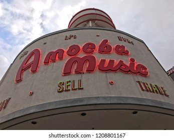 LOS ANGELES, OCT 13,2018: Close up of the logo and sign above the iconic Amoeba Music store on Sunset Boulevard in Hollywood, Los Angeles, California, which will soon be relocated to a location nearby