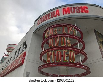 LOS ANGELES, OCT 13TH, 2018: Close up of the logo and sign of the iconic Amoeba Music store on Sunset Boulevard in Hollywood, Los Angeles, California, which will soon be relocated to a location nearby