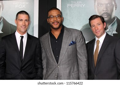 """LOS ANGELES - OCT 15:  Michael Fox, Tyler Perry, Edward Burns arrives at the """"Alex Cross"""" Premiere at ArcLight Cinemas Cinerama Dome on October 15, 2012 in Los Angeles, CA"""
