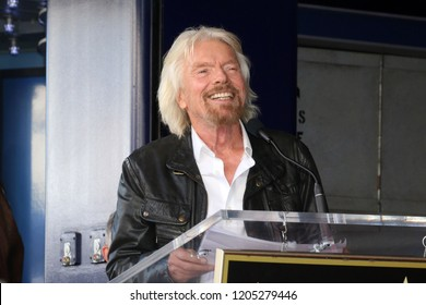 LOS ANGELES - OCT 16:  Sir Richard Branson at the Sir Richard Branson Star Ceremony on the Hollywood Walk of Fame on October 16, 2018 in Los Angeles, CA
