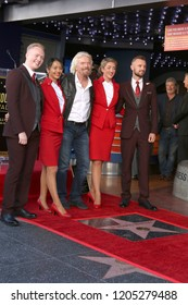 LOS ANGELES - OCT 16:  Sir Richard Branson, Virgin Arirlines Staff at the Sir Richard Branson Star Ceremony on the Hollywood Walk of Fame on October 16, 2018 in Los Angeles, CA