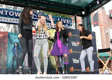 """LOS ANGELES - OCT 17:  Sofia Carson, Dove Cameron, Booboo Stewart at the Stars of """"Descendants"""" Personal Appearance at the Downtown Disney on October 17, 2015 in Anaheim, CA"""