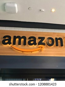 LOS ANGELES, OCT 17TH, 2018: Extreme close up of the Amazon sign located at the Amazon books bookstore at the Westfield Century City shopping mall.