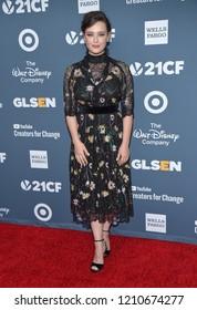 LOS ANGELES - OCT 19:  Katherine Langford arrives for the GLSEN Respect Awards Gala on October 19, 2018 in Beverly Hills, CA