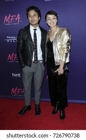 """LOS ANGELES - OCT 2:  David Huynh, Laura Roman at the """"M.F.A."""" Premiere at the The London West Hollywood on October 2, 2017 in West Hollywood, CA"""