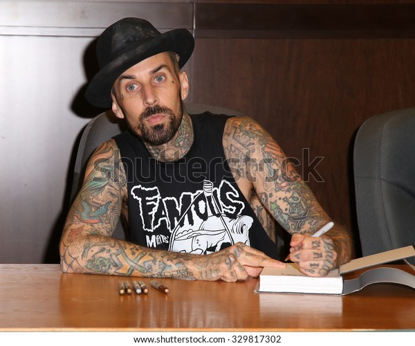 LOS ANGELES - OCT 20:  Travis Barker at the Travis Barker Bookisgning at the Basnes and Noble at The Grove on October 20, 2015 in Los Angeles, CA