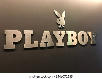 LOS ANGELES, Oct 21st, 2019: Playboy bunny and logo close up on a wall next to the magazine's Westwood, California headquarters offices.