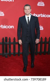 """LOS ANGELES - OCT 22:  Matt Damon at the """"Suburbicon"""" Premiere at the Village Theater on October 22, 2017 in Westwood, CA"""