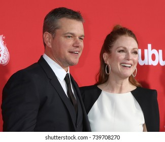 "LOS ANGELES - OCT 22:  Matt Damon, Julianne Moore at the ""Suburbicon"" Premiere at the Village Theater on October 22, 2017 in Westwood, CA"