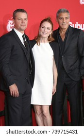 """LOS ANGELES - OCT 22:  Matt Damon, Julianne Moore, George Clooney at the """"Suburbicon"""" Premiere at the Village Theater on October 22, 2017 in Westwood, CA"""