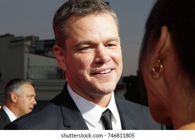 LOS ANGELES, OCT 22ND, 2017: Close up of actor Matt Damon on the red carpet at the Suburbicon premiere held at the Village Theatre in Westwood, Los Angeles, California.