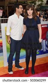 "LOS ANGELES - OCT 23:  Zooey Deschanel and Jacob Pechenik  arrives to the ""Trolls"" Los Angeles Premiere  on October 23, 2016 in Los Angeles, CA"